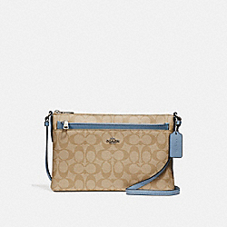 COACH EAST/WEST CROSSBODY WITH POP-UP POUCH - LIGHT KHAKI/POOL/SILVER - F58316