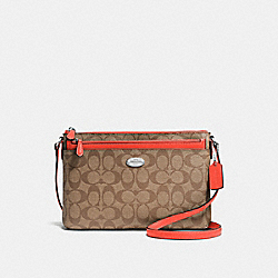 COACH F58316 - EAST/WEST CROSSBODY WITH POP-UP POUCH IN SIGNATURE COATED CANVAS SILVER/KHAKI