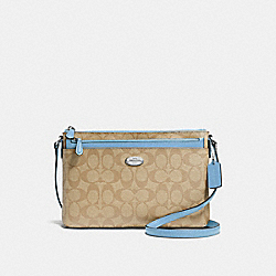 EAST/WEST CROSSBODY WITH POP-UP POUCH IN SIGNATURE - f58316 - SILVER/LIGHT KHAKI/CORNFLOWER