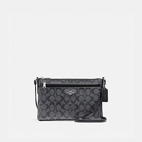COACH f58316 EAST/WEST CROSSBODY WITH POP-UP POUCH IN SIGNATURE COATED CANVAS SILVER/BLACK SMOKE