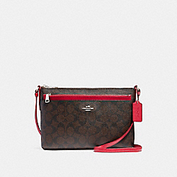 COACH F58316 East/west Crossbody With Pop-up Pouch SILVER/BROWN TRUE RED