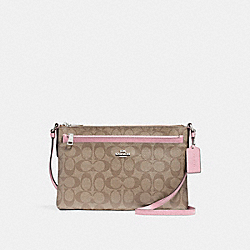 COACH F58316 East/west Crossbody With Pop-up Pouch SILVER/KHAKI BLUSH 2