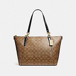 AVA TOTE IN SIGNATURE CANVAS - F58318 - KHAKI/BLACK/IMITATION GOLD