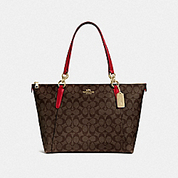 AVA TOTE IN SIGNATURE CANVAS - F58318 - BROWN/TRUE RED/IMITATION GOLD