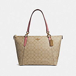 COACH F58318 Ava Tote LIGHT KHAKI/VINTAGE PINK/IMITATION GOLD