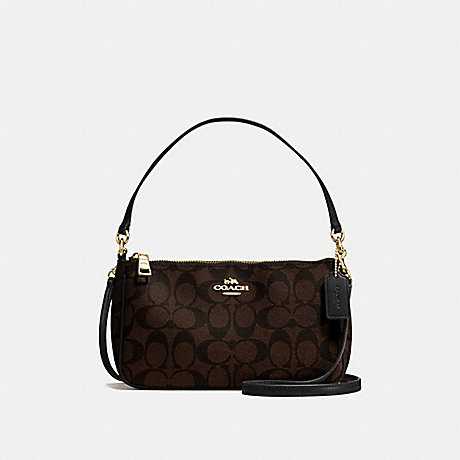 COACH F58321 TOP HANDLE POUCH IN SIGNATURE CANVAS BROWN/BLACK/LIGHT-GOLD