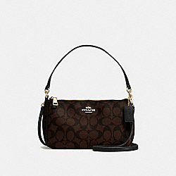 COACH F58321 - TOP HANDLE POUCH IN SIGNATURE CANVAS BROWN/BLACK/LIGHT GOLD