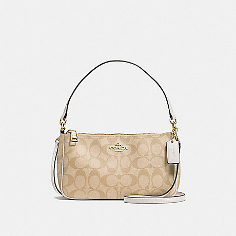 COACH f58321 MESSICO TOP HANDLE POUCH IN SIGNATURE IMITATION GOLD/LIGHT KHAKI/CHALK