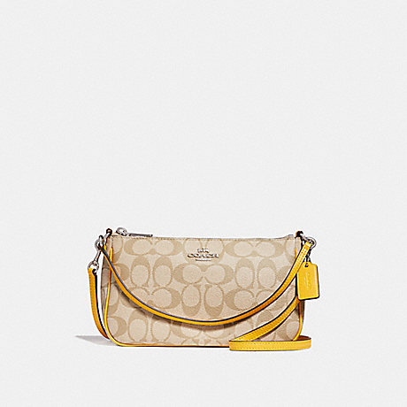 COACH TOP HANDLE POUCH - LIGHT KHAKI/CANARY/SILVER - f58321