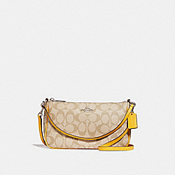 COACH F58321 Top Handle Pouch LIGHT KHAKI/CANARY/SILVER