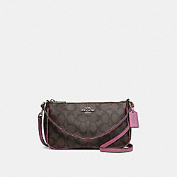 TOP HANDLE POUCH - f58321 - brown/Azalea/silver