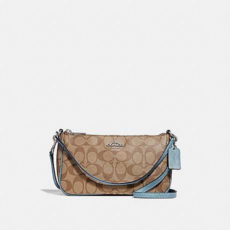 COACH f58321 TOP HANDLE POUCH KHAKI/CYAN/SILVER