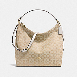 CELESTE CONVERTIBLE HOBO IN OUTLINE SIGNATURE - f58327 - IMITATION GOLD/LIGHT KHAKI/CHALK