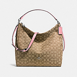 CELESTE CONVERTIBLE HOBO IN OUTLINE SIGNATURE JACQUARD - f58327 - SILVER/KHAKI/BLUSH