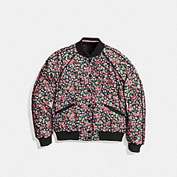 COACH F58339 Reversible Floral Varsity Jacket BLACK PINK MULTI