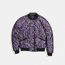 COACH F58339 - REVERSIBLE FLORAL VARSITY JACKET PURPLE VIOLET MULTI