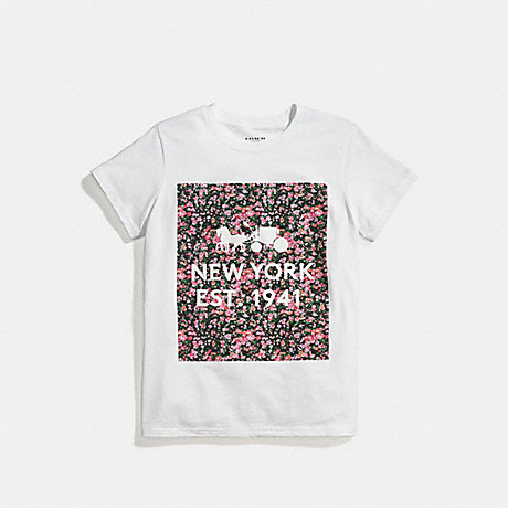 COACH f58343 FLORAL T-SHIRT WHITE PINK MULTI