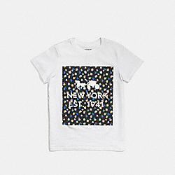 COACH F58343 Floral T-shirt WHITE BLACK MULTI