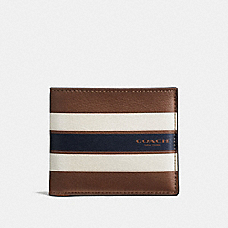 COACH DOUBLE BILLFOLD WALLET IN VARSITY LEATHER - DARK SADDLE - F58349