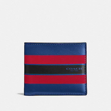 COACH f58349 DOUBLE BILLFOLD WALLET IN VARSITY LEATHER INDIGO/BRIGHT RED