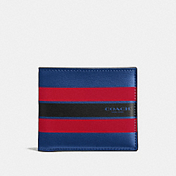 COACH DOUBLE BILLFOLD WALLET IN VARSITY LEATHER - INDIGO/BRIGHT RED - F58349