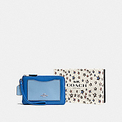 COACH F58364 Boxed Small Wristlet In Colorblock SV/LAPIS CORNFLOWER