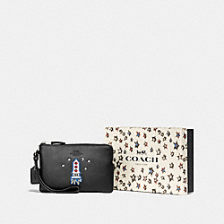 COACH F58365 Boxed Small Wristlet SV/BLACK