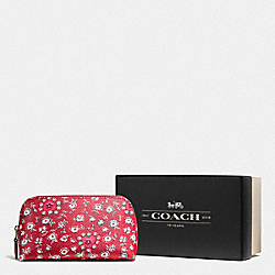 COACH F58368 Boxed Cosmetic Case 17 In Wild Hearts Print Coated Canvas LI/WILD HEARTS RED MULTI