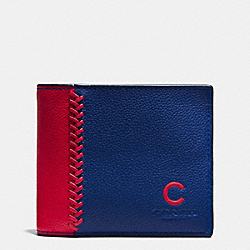 MLB 3-IN-1 WALLET IN SMOOTH CALF LEATHER - f58376 - CHI CUBS