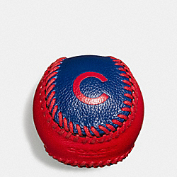 MLB BASEBALL PAPERWEIGHT IN SMOOTH CALF LEATHER - f58377 - CHI CUBS