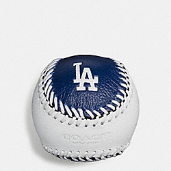 MLB BASEBALL PAPERWEIGHT IN SMOOTH CALF LEATHER - f58377 - LA DODGERS