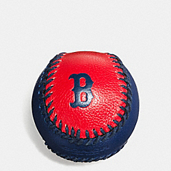 MLB BASEBALL PAPERWEIGHT IN SMOOTH CALF LEATHER - f58377 - BOS RED SOX