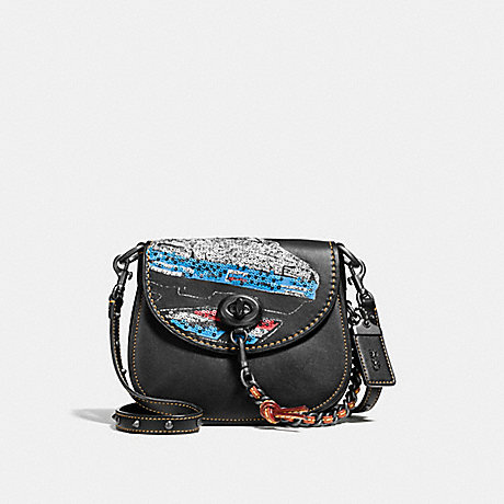 COACH f58392 TURNLOCK SADDLE 17 WITH CAR BLACK/BLACK COPPER