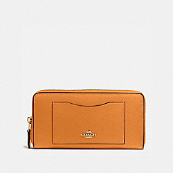 COACH F58411 Accordion Zip Wallet In Crossgrain Leather IMITATION GOLD/ORANGE PEEL