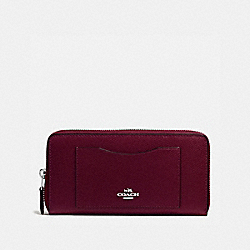 COACH F58411 Accordion Zip Wallet In Crossgrain Leather SILVER/BURGUNDY