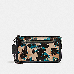 NOLITA WRISTLET 24 IN HAIRCALF WITH SCATTERED LEAF PRINT - f58412 - DARK GUNMETAL/WALNUT MULTI