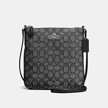COACH f58421 NORTH/SOUTH CROSSBODY IN OUTLINE SIGNATURE JACQUARD SILVER/BLACK SMOKE/BLACK