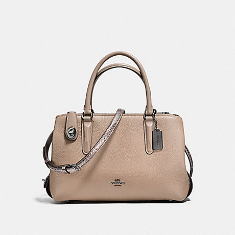 COACH f58437 BROOKLYN CARRYALL 28 IN COLORBLOCK WITH SNAKESKIN STONE/CHESTNUT/DARK GUNMETAL