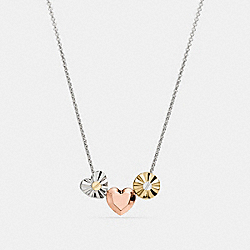 COACH F58464 - SHORT DAISY RIVET HEART LOCKET NECKLACE SILVER/MULTICOLOR