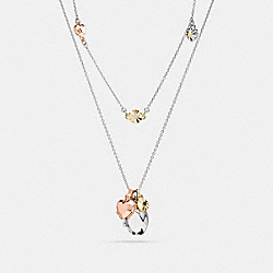 COACH F58469 Daisy Rivet Heart Locket Layered Necklace MULTICOLOR/SILVER