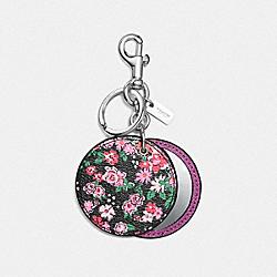 COACH F58500 Floral Disc Mirror Bag Charm SILVER/STRAWBERRY HYACINTH