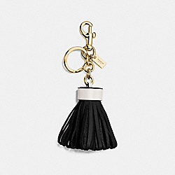 COACH F58505 Leather Tassel Bag Charm GOLD/BLACK