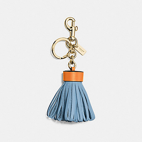 COACH F58505 LEATHER TASSEL BAG CHARM GOLD/CORNFLOWER