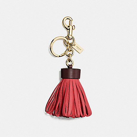 COACH f58505 LEATHER TASSEL BAG CHARM GOLD/STRAWBERRY