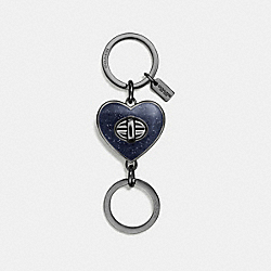 COACH F58512 Glitter Enamel Turnlock Heart Bag Charm DARK GUNMETAL/BLACK
