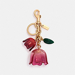GLITTER TEA ROSE BAG CHARM - F58514 - PINK/GOLD