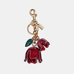 GLITTER TEA ROSE BAG CHARM - f58514 - GOLD/POPPY