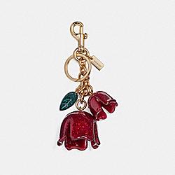 COACH F58514 Glitter Tea Rose Bag Charm GOLD/POPPY