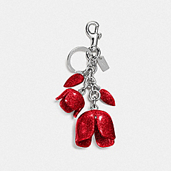 GLITTER RESIN TEA ROSE BAG CHARM - f58514 - SILVER/BRIGHT RED