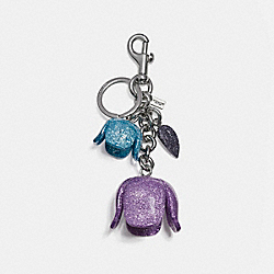 COACH F58514 Glitter Resin Tea Rose Bag Charm SILVER/MAUVE